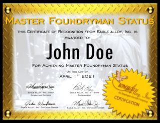 Master Foundryman Status Certificate