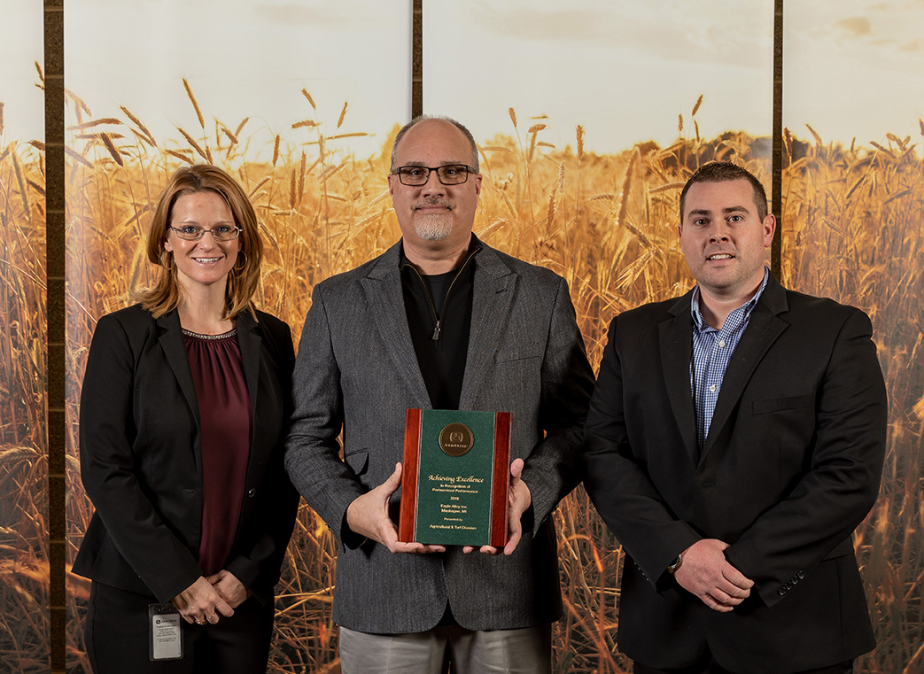 From left: Traci Devlin, Supply Base Manager, John Deere; Mark Hollenbeck, Senior Sales Engineer, Eagle Alloy; Nic Tarzwell, Chief Technical Officer, Eagle Alloy