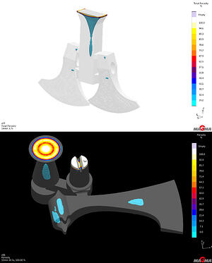 Solidification simulation results: Eagle Precision (Top) and Eagle Alloy (Bottom)