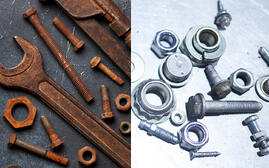 Rusty tools compared to corrosion-resistant tools