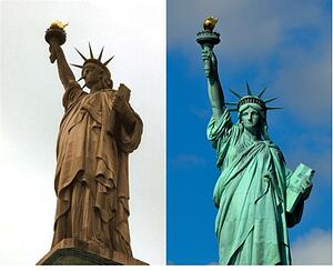 Statue of liberty without patina and with patina