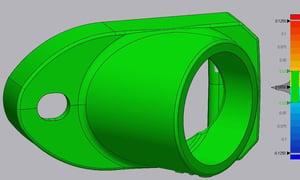 Overlay showing tolerances in a cast part 3D model